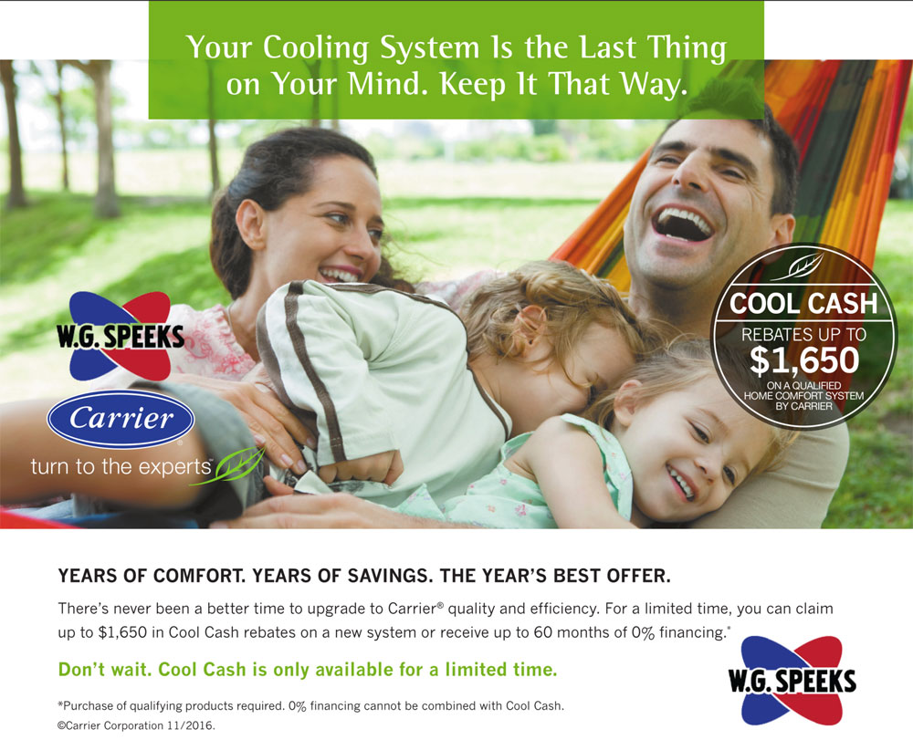 Cool Cash Savings Deal from Carrier and W. G. Speeks