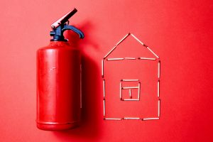 fire extinguisher and house